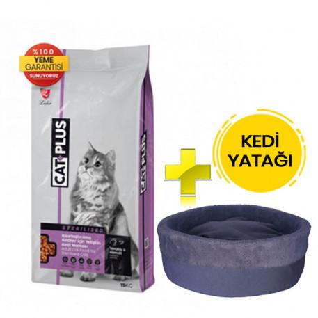 CatPlus Tavuklu Hamsili Kısırlaştırılmış Kedi Maması 15 Kg + Kedi Yatağı (35x16)