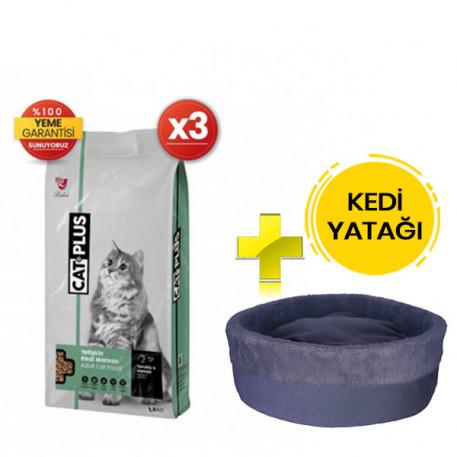 CatPlus Tavuklu Hamsili Yetişkin Kedi Maması 1,5 Kg x 3 Adet + Kedi Yatağı (35x16)