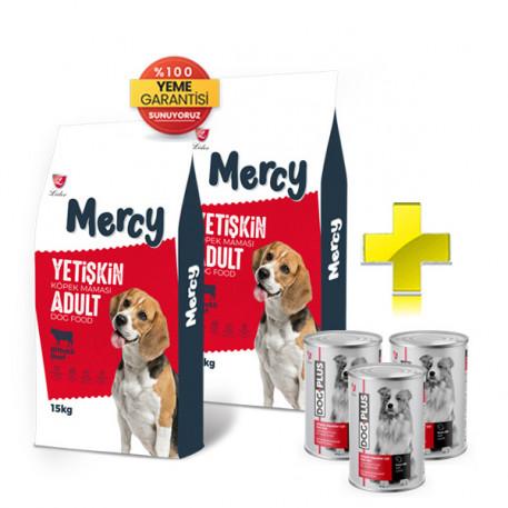Mercy Biftekli Yetişkin Köpek Maması 15 Kg x 2 Adet + 3 Adet DogPlus Kuzu Etli Köpek Konservesi