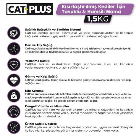 CatPlus Tavuklu Hamsili Kısırlaştırılmış Kedi Maması 1,5 Kg x 2 Adet