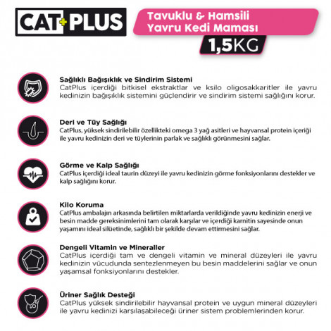 CatPlus Tavuklu Hamsili Yavru Kedi Maması 1,5 Kg x 3 Adet