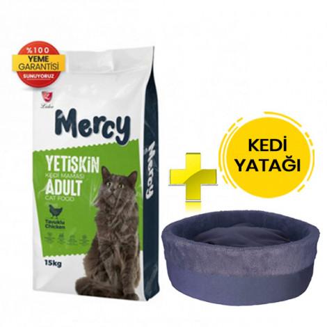 Mercy Tavuklu Yetişkin Kedi Maması 15 Kg + Kedi Yatağı (35x16)