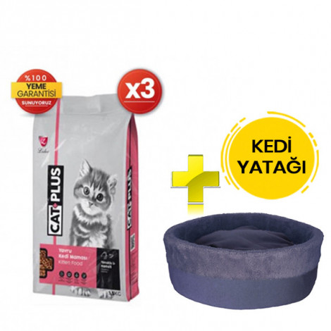 CatPlus Tavuklu Hamsili Yavru Kedi Maması 1,5 Kg x 3 Adet + Kedi Yatağı (35x16)