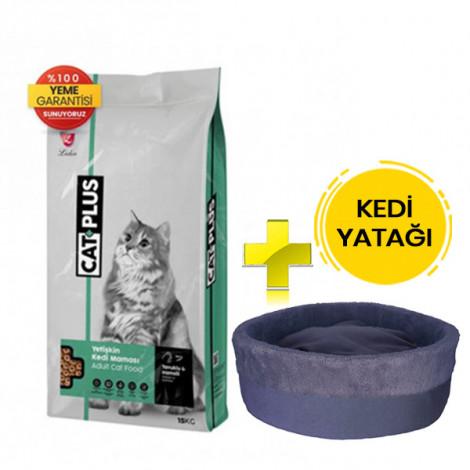 CatPlus Tavuklu Hamsili Yetişkin Kedi Maması 15 Kg + Kedi Yatağı (35x16)