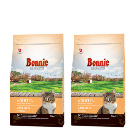 Bonnie Tavuklu Yetişkin Kedi Maması 1,5 Kg x 2