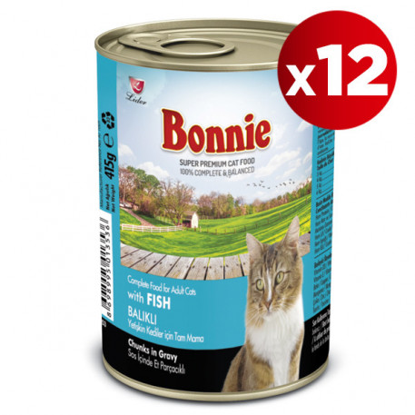 Bonnie Balıklı Kedi Konservesi 415 Gr x 12