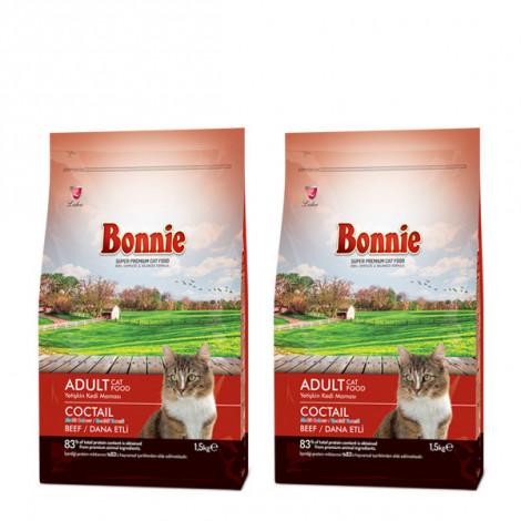 Bonnie Renkli Taneli Dana Etli Yetişkin Kedi Maması 1,5 Kg x 2