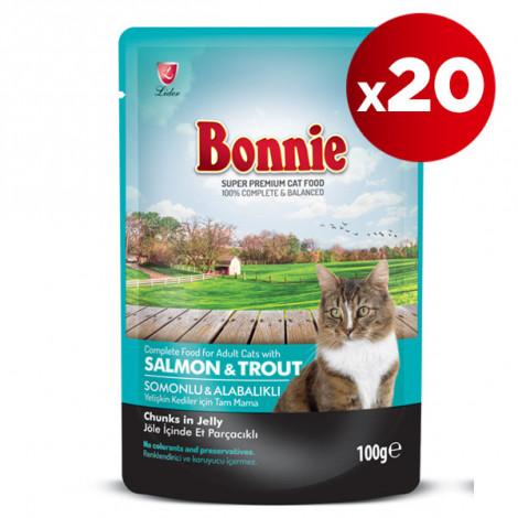 Bonnie Somonlu ve Alabalıklı Kedi Pouch 100 Gr x 20