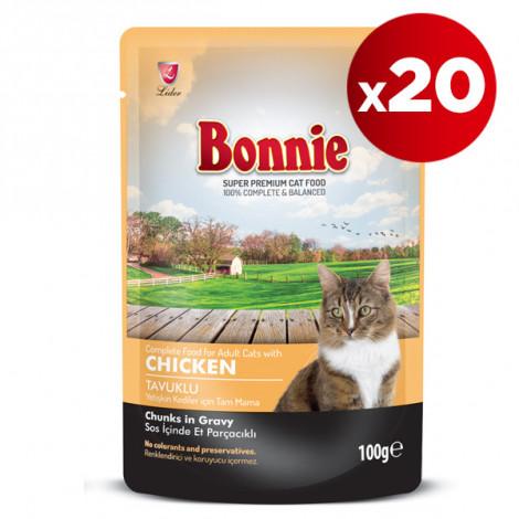 Bonnie Tavuklu Kedi Pouch 100 Gr x 20