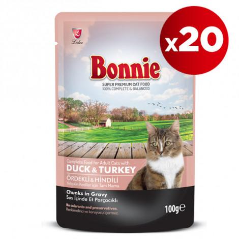 Bonnie Ördekli ve Hindili Kedi Pouch 100 Gr x 20