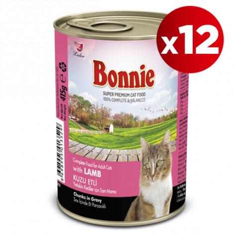 Bonnie Kuzu Etli Kedi Konservesi 415 Gr x 12