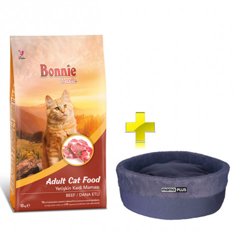 Bonnie Dana Etli Yetişkin Kedi Maması 10 Kg + Kedi Yatağı (35x16)