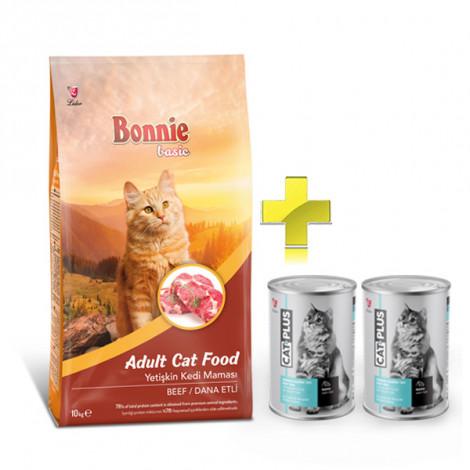 Bonnie Dana Etli Yetişkin Kedi Maması 10 Kg + 2 Adet CatPlus Balıklı Kedi Konservesi