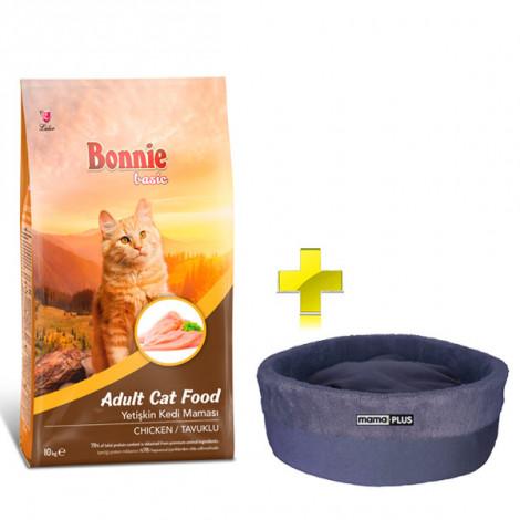Bonnie Tavuklu Yetişkin Kedi Maması 10 Kg + Kedi Yatağı (35x16)