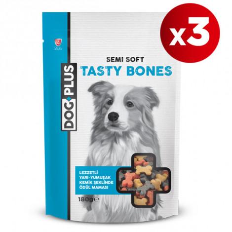DogPlus Lezzetli ve Yarı - Yumuşak Kemik Şeklinde Ödül Maması 180 Gr x 3 Adet
