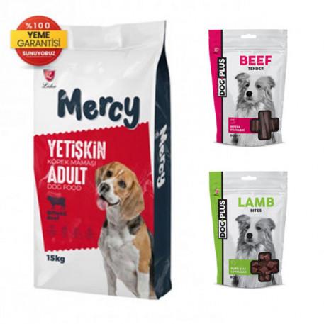 Mercy Biftekli Yetişkin Köpek Maması 15 Kg + Kuzu Etli + Dana Etli Ödül