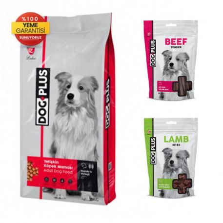 DogPlus Yetişkin Köpekler İçin Kuzu Etli - Pirinçli Mama + Kuzu Etli + Dana Etli Ödül