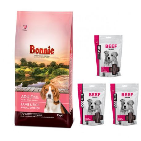 Bonnie Kuzulu ve Pirinçli Yetişkin Köpek Maması 15 Kg + 3 Adet DogPlus Biftekli Ödül Maması