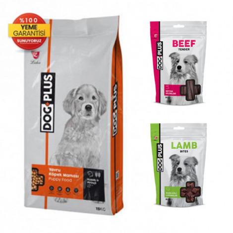 DogPlus Kuzu Etli Pirinçli Yavru Köpek Maması 15 Kg + Kuzu Etli + Dana Etli Ödül