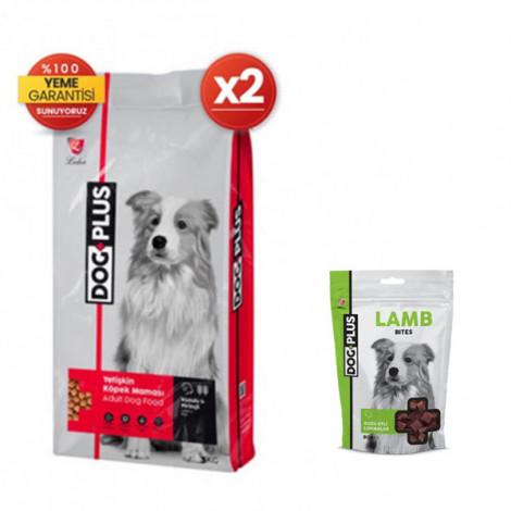 DogPlus Kuzu Etli Pirinçli Yetişkin Köpek Maması 3 Kg x 2 Adet + Kuzu Etli Ödül
