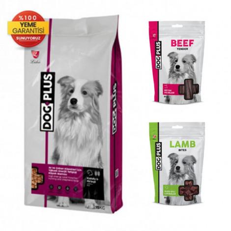 DogPlus Kuzu Etli Yüksek Enerjili Yetişkin Köpek Maması 15 Kg + Kuzu Etli + Dana Etli Ödül