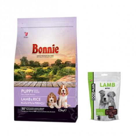 Bonnie Kuzulu ve Pirinçli Yavru Köpek Maması 2,5 Kg + 1 Adet DogPlus Kuzu Etli Ödül Maması