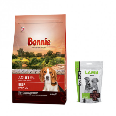 Bonnie Biftekli Yetişkin Köpek Maması 2,5 Kg + 1 Adet DogPlus Kuzu Etli Ödül Maması