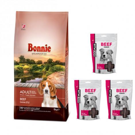 Bonnie Biftekli Yetişkin Köpek Maması 15 Kg + 3 Adet DogPlus Biftekli Ödül Maması