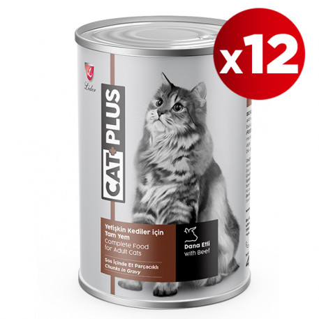 CatPlus Kediler İçin Biftekli Konserve (415 GR X 12)