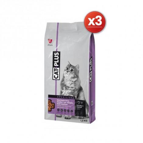 CatPlus Tavuklu Hamsili Kısırlaştırılmış Kedi Maması 1,5 Kg x 3 Adet