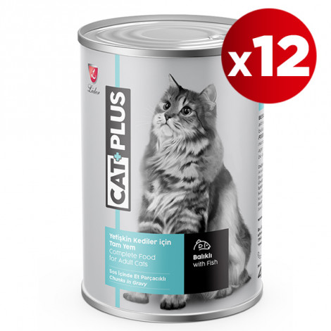 CatPlus Balıklı Kedi Konservesi 415 Gr x 12 Adet