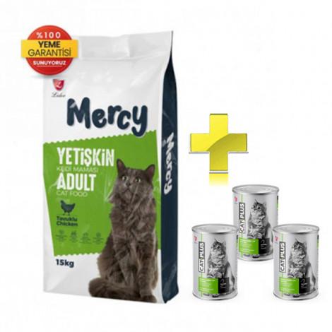 Mercy Tavuklu Yetişkin Kedi Maması 15 Kg + 3 Adet CatPlus Tavuklu Kedi Konservesi