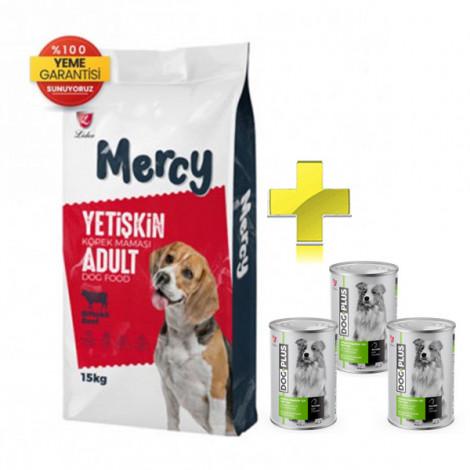 Mercy Biftekli Yetişkin Köpek Maması 15 Kg + 3 Adet DogPlus Tavuklu Köpek Konservesi