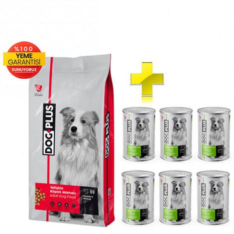 DogPlus Kuzu Etli Pirinçli Yetişkin Köpek Maması 3 Kg + 6 Adet DogPlus Tavuklu Köpek Konservesi