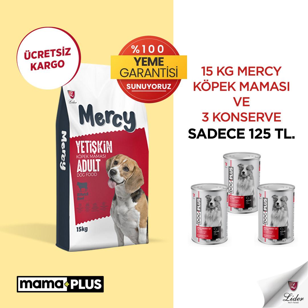 15 Kg Mercy Biftekli Yetişkin Köpek Maması ve 3 Adet DogPlus Kuzu Etli Köpek Konservesi sadece 125 TL!