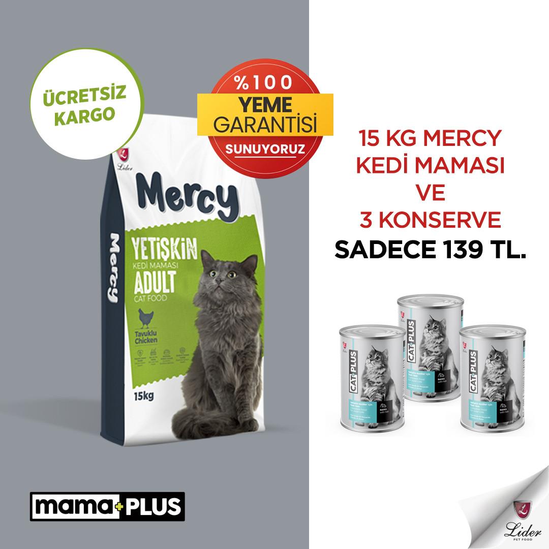 15 Kg Mercy Tavuklu Yetişkin Kedi Maması ve 3 Adet CatPlus Balıklı Kedi Konservesi sadece 139 TL!
